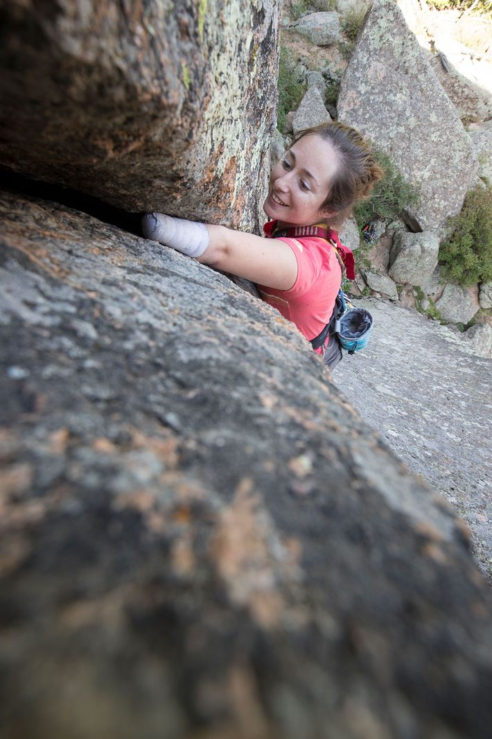 Beck climbs a route near Vedauwoo in Wyoming. In 2014, she became the first American woman ...