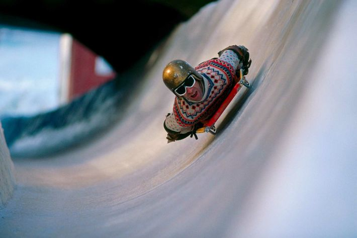 The natural ice skeleton racing toboggan track attracts amateur riders from across the world, who pile head-first ...