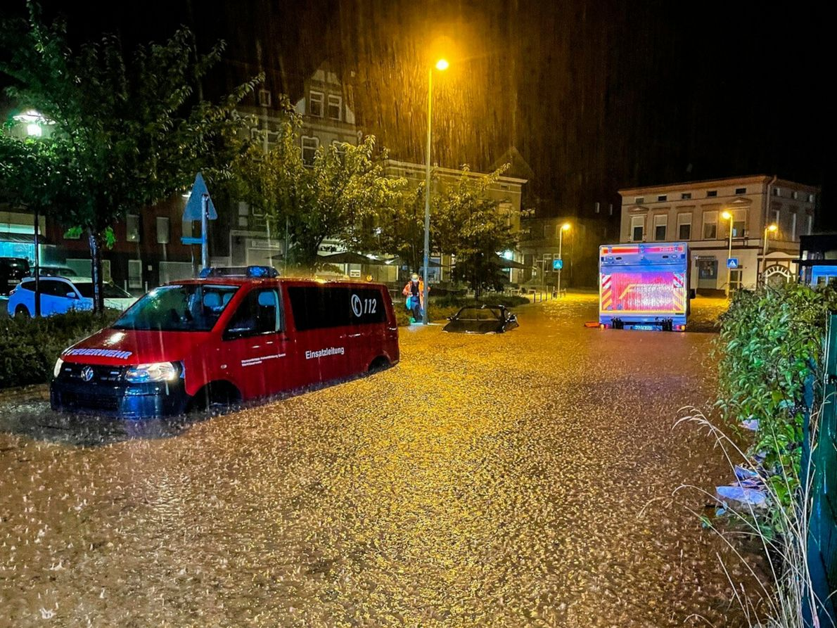 On July 14, torrential rain falls in Germany. Parts of the country saw in a day ...