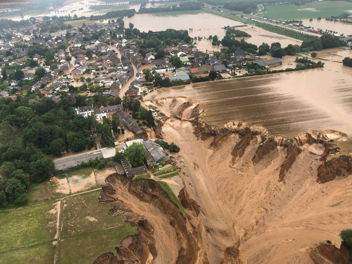 A photo shared by the Cologne district government in Germany shows flooding in a town called ...