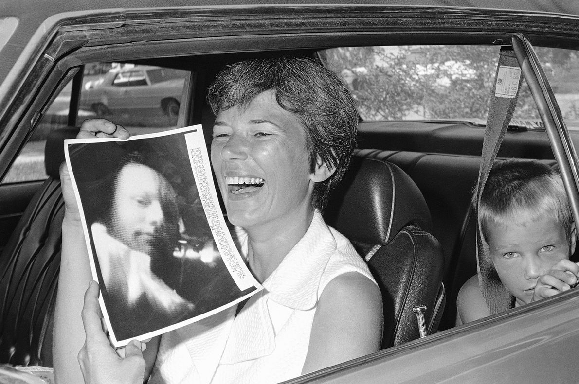 Janet Armstrong reacts to a picture of her husband, Apollo 11 commander Neil Armstrong, that was ...