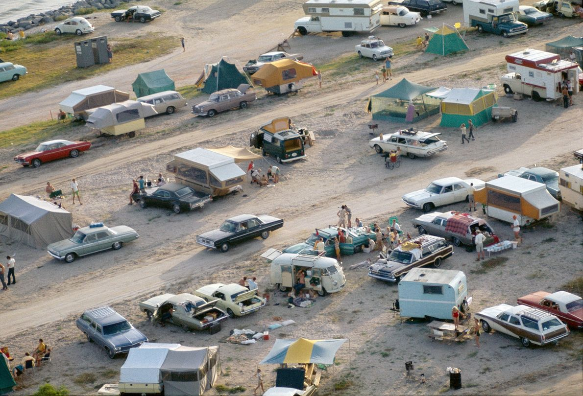 Spectators hang out around campsites in Cape Kennedy, Florida, in July 1969 awaiting the Apollo 11 ...