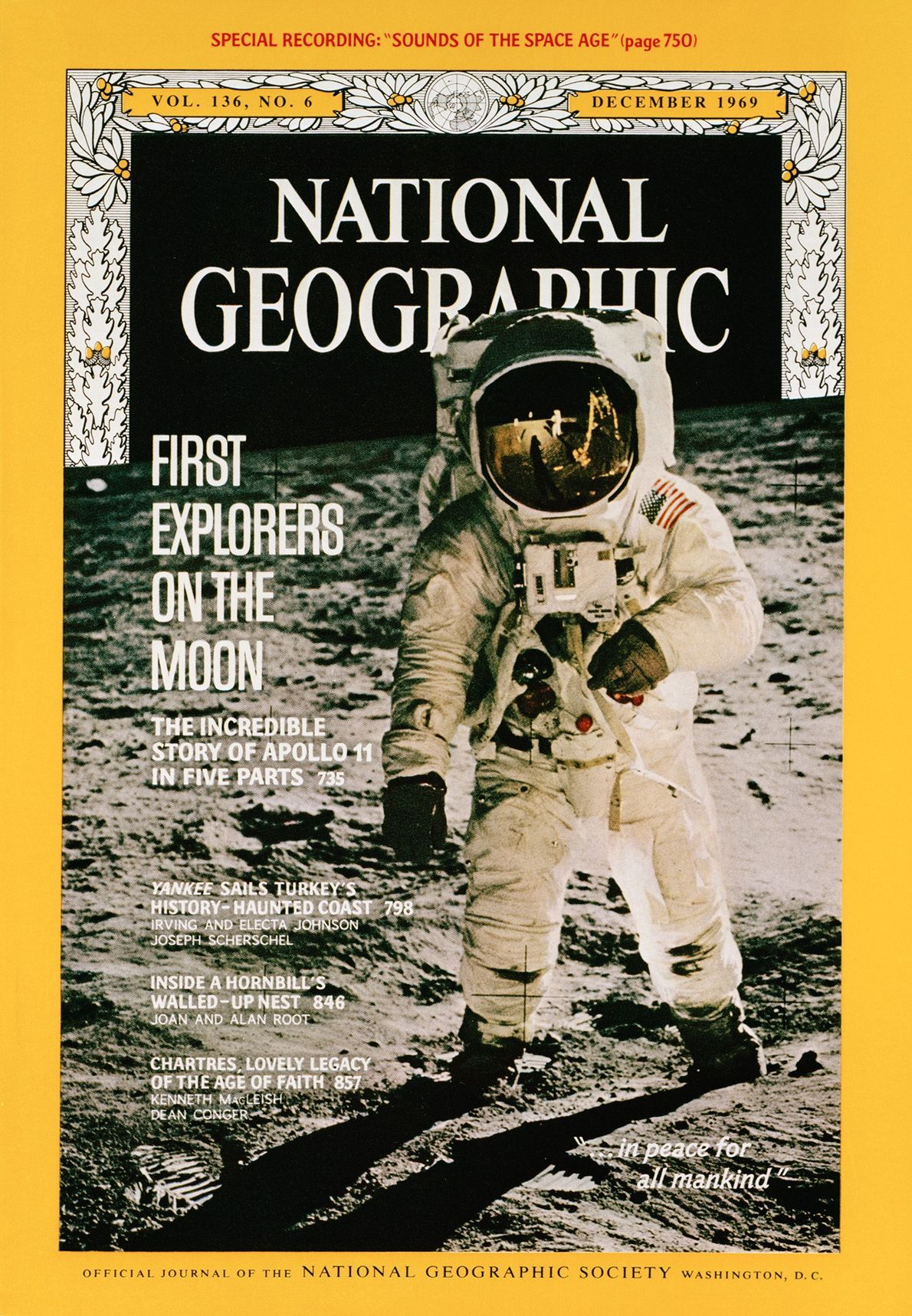 The cover of the December 1969 issue of National Geographic magazine featured a now iconic picture ...
