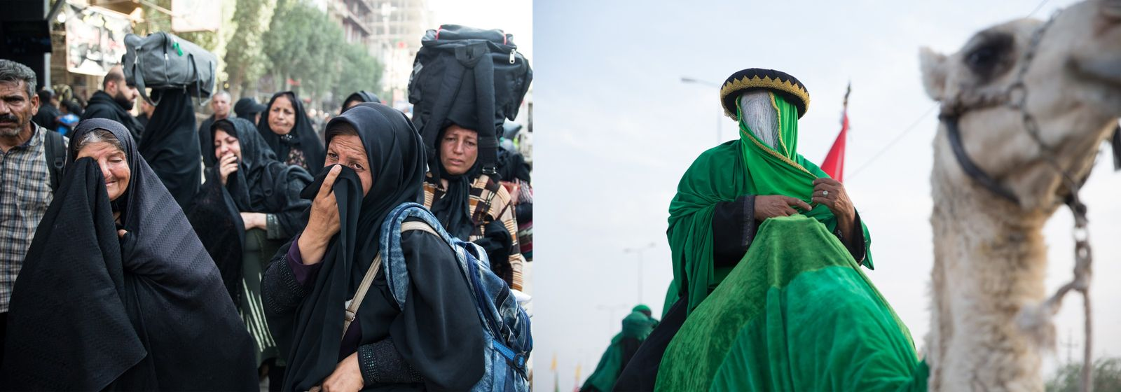 Arba'een draws people to Karbala from great distances–some dressed in tribute to Husayn, others in black. ...