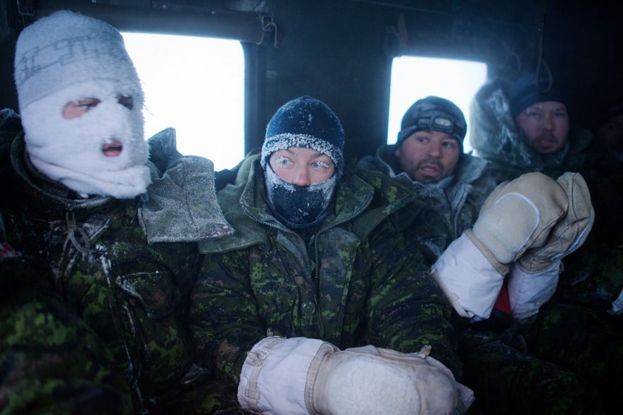 Frost-faced members of a Canadian aircrew head back to hot meals and showers after enduring a week of temperatures as low as -60°C during an outdoor survival course.
