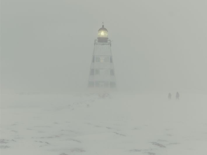 Kostikova and Sivkov make their way toward the lighthouse, which seems to rise in the air ...