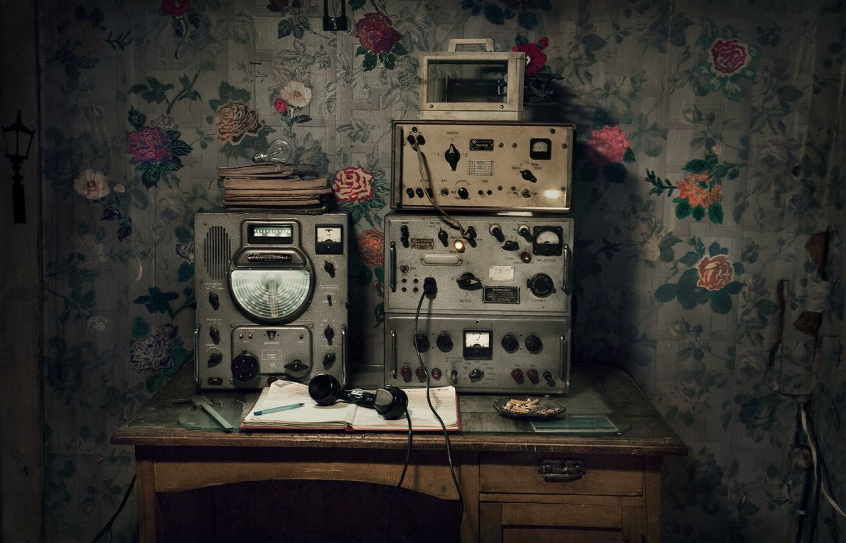 This radio at the old weather station transmitted meteorological data such as temperature and precipitation to ...