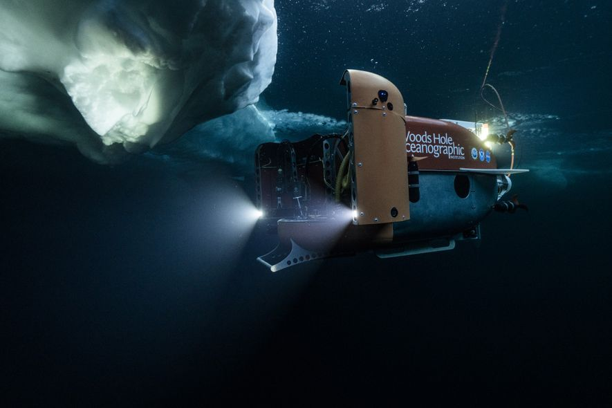 The Nereid Under Ice submersible starts its exploration of the ice-covered Arctic waters off Greenland in ...