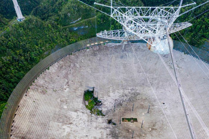 This aerial view shows damage to the Arecibo Observatory on November 19, 2020, after two cables ...