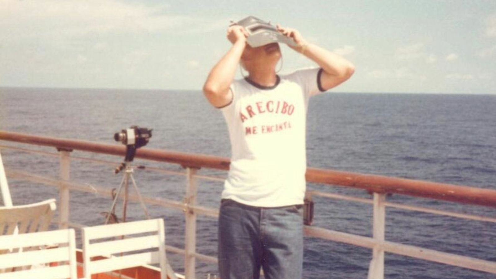 Frank Drake observes a solar eclipse in 1977. Drake moved his family to Puerto Rico when ...