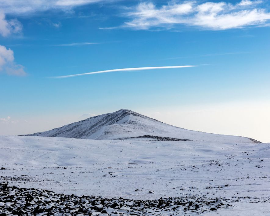 A snowy vista captured from Mount Aragats Cosmic Ray Division facility.