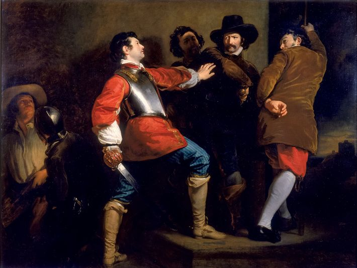 """The 1823 painting """"Discovery of Gunpowder Plot and the Taking of Guy Fawkes,"""" by Henry Perronet ..."""