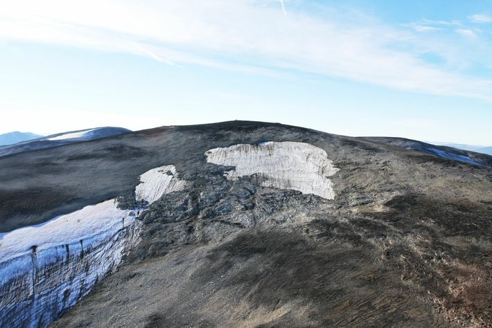 The upper part of the melting Langfonne ice patch as viewed by helicopter. Researchers estimate that ...