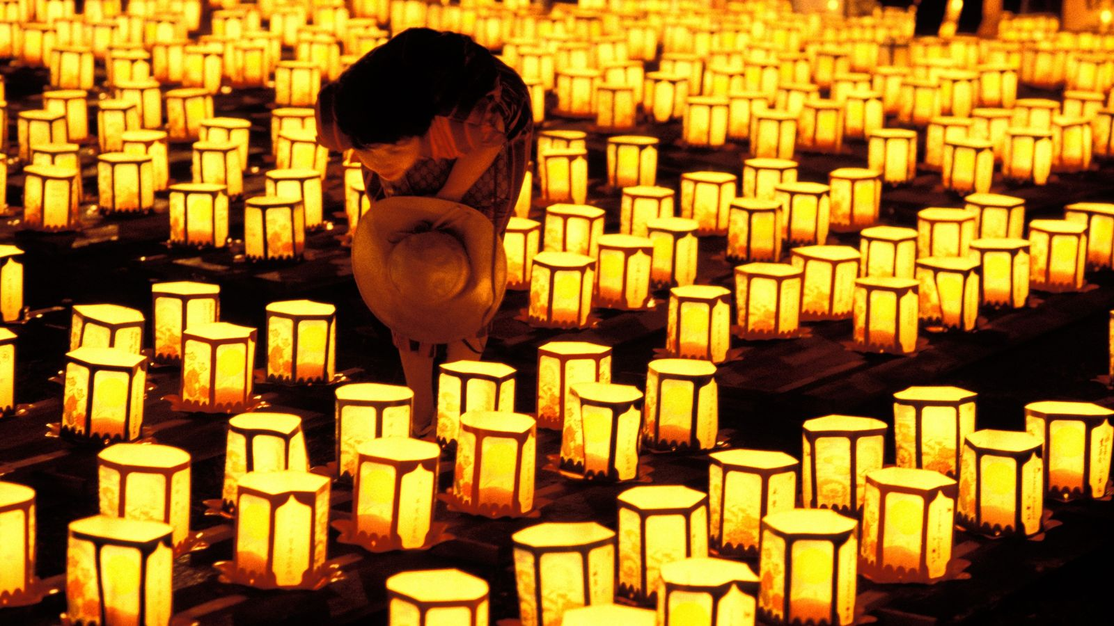 Lanterns are lit in preparation for the Japanese festival of Obon. The lights – which illuminate ...