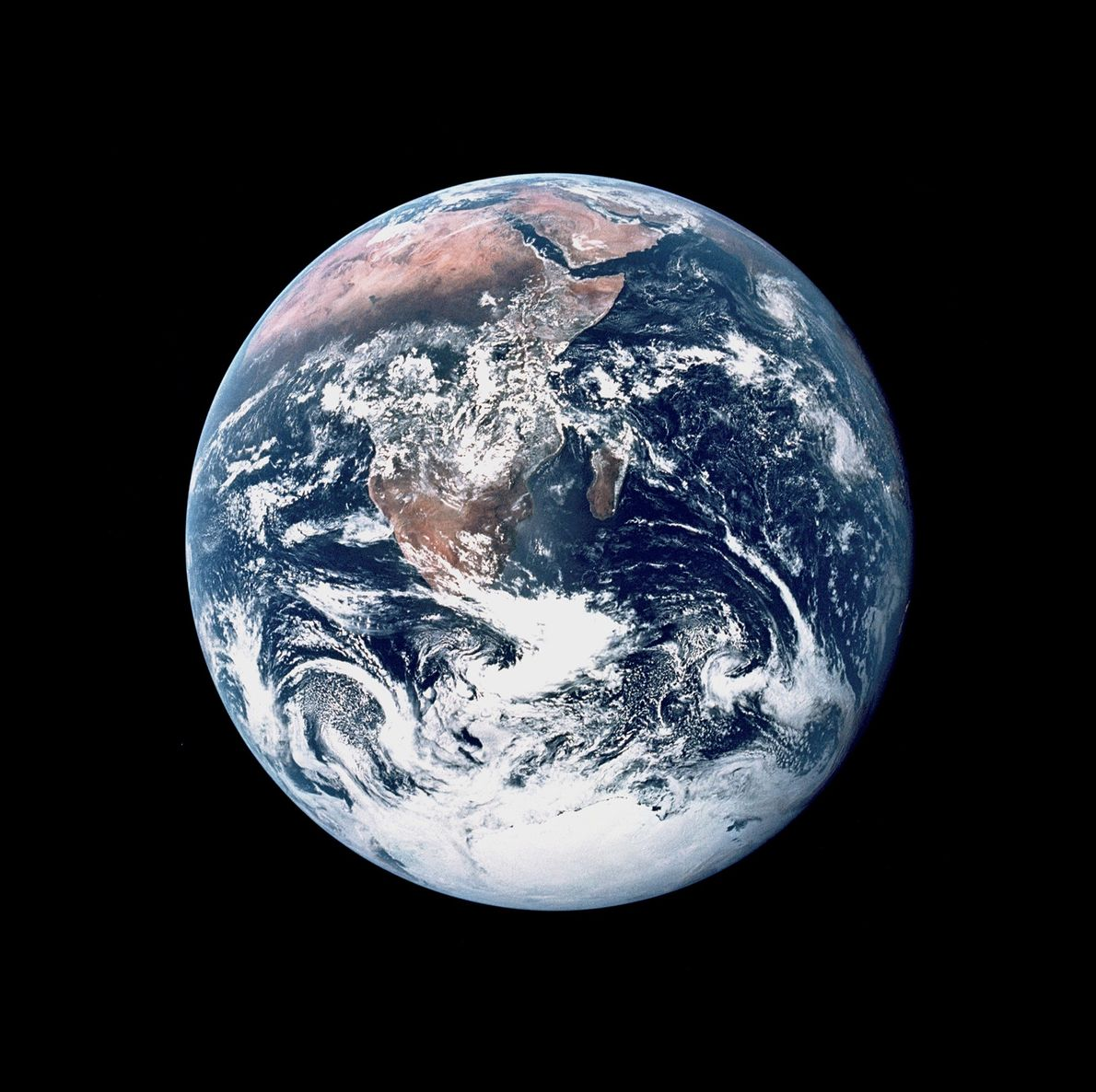 The Apollo 17 crew captured this view of Earth as they travelled toward the moon on ...