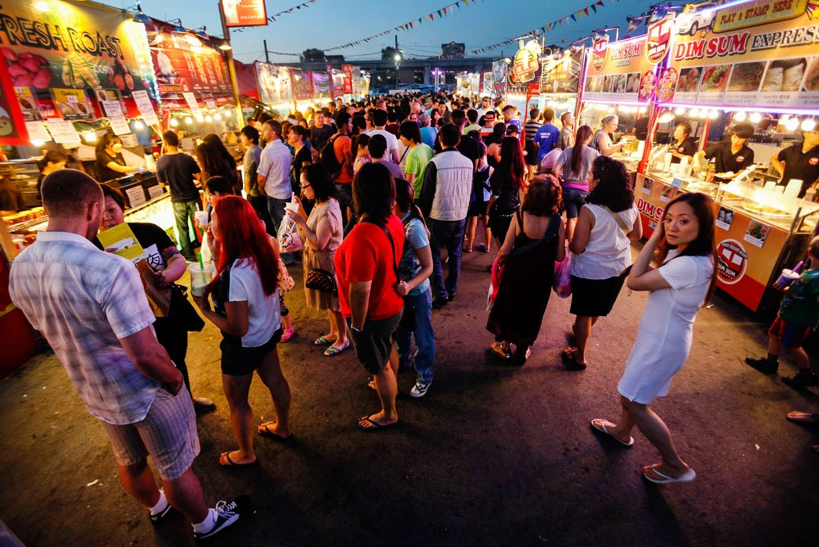 Crowds pack the sprawling Asian Night Market in Richmond on a Sunday night that locals and ...
