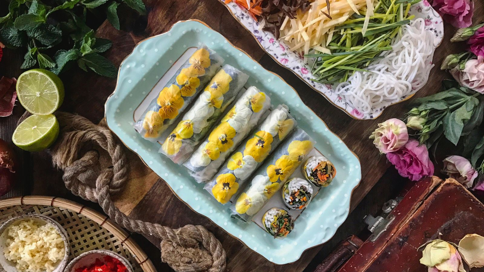 Vegetables, fish, meat or even fruit can be added to summer rolls, but always add plenty of ...