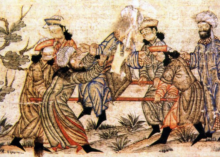 A medieval painting depicts the murder of am 11th-century Persian vizier (high-ranking official) by a member ...