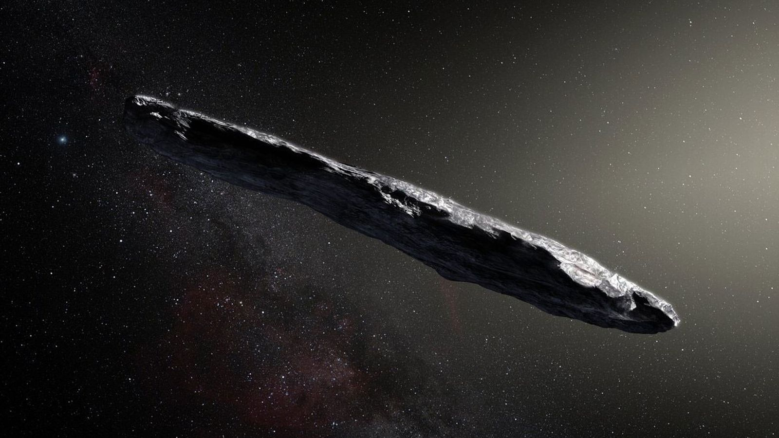 This artist's impression shows the first interstellar asteroid, Oumuamua. The object travelled through space for millions ...