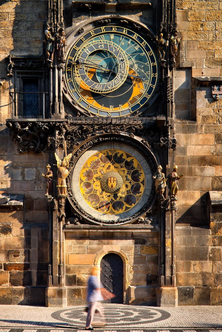 The Astronomical Clock in Old Town Square is set in motion on the hour.