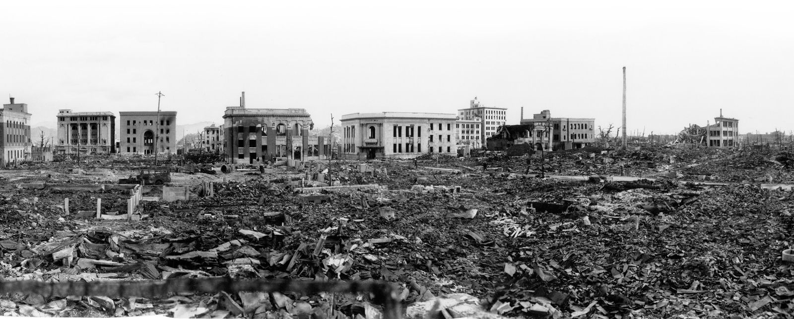 This panoramic view of Hiroshima, from U.S. Army images taken several weeks after the bombing, shows ...