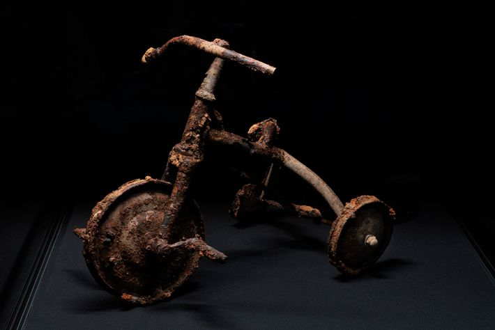 Three-year-old Shinichi Tetsutani was riding this tricycle when the bomb fell. That night he died an ...