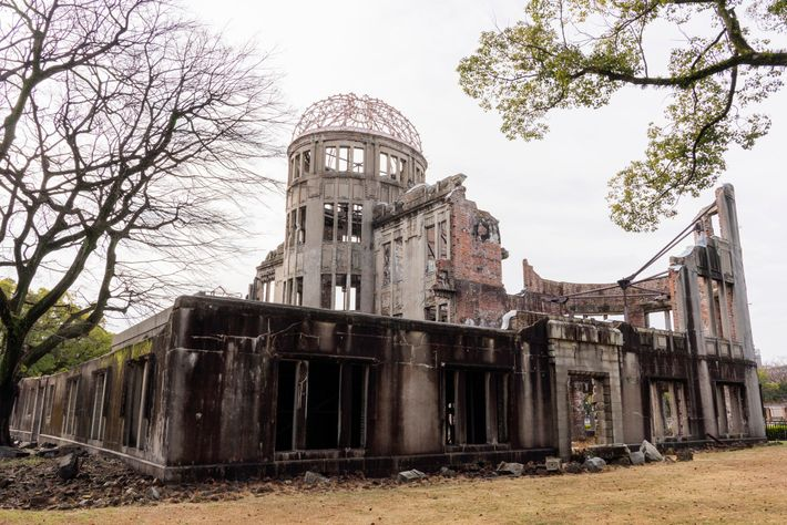 One of the few buildings left standing near ground zero, the Hiroshima Prefecture Industrial Promotion Hall ...