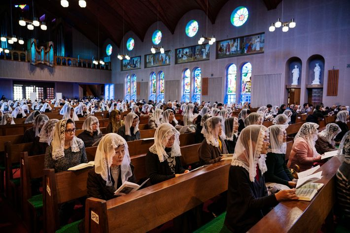 On the ninth day of every month, Catholics at the Urakami Cathedral in Nagasaki conduct a ...