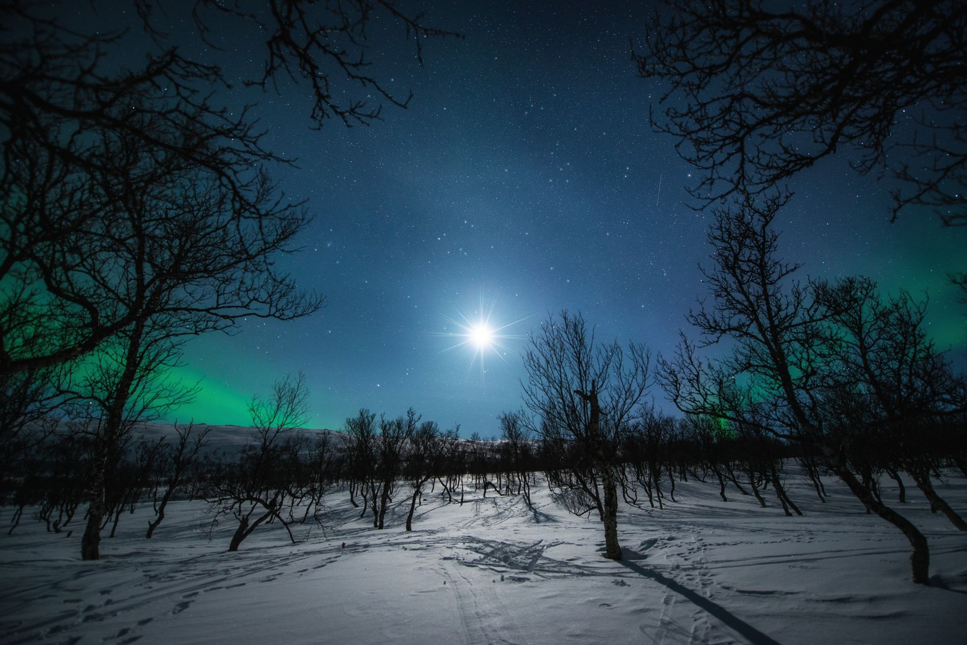 Cold nights at Aunfjellet in Harstad, Troms. This area in northern Norway is a popular place ...