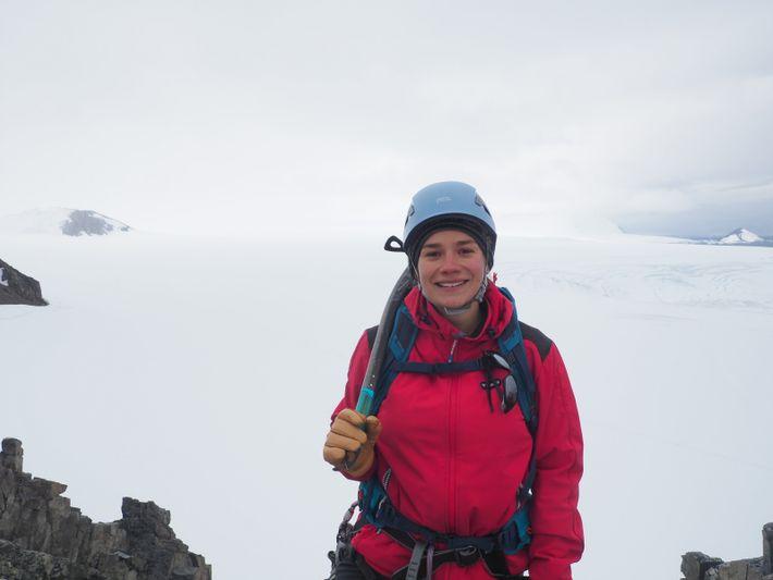 Aurelia Reichardt during a mountaineering field trip.