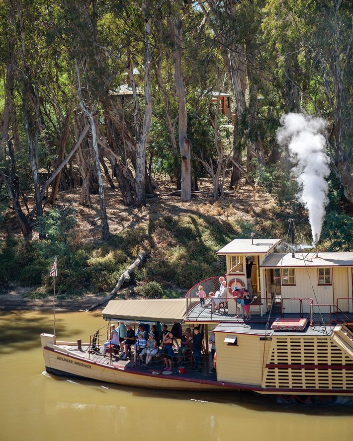 The century-old PS Alexander Arbuthnot paddle steamer in Port Echuca, originally built as a logging barge.
