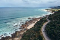 View of the Great Ocean Road stretching out along the coastline.