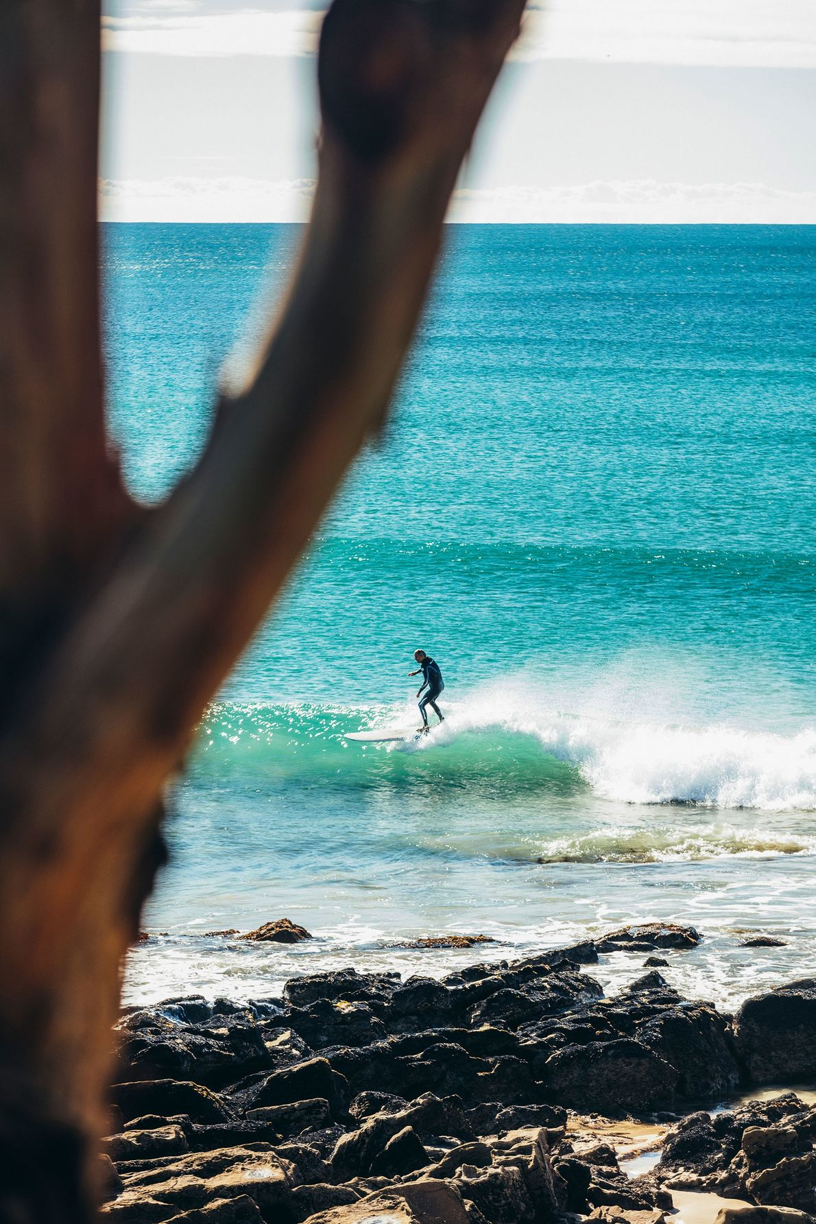 A lone surfer in the waters off Lorne, a seaside town in Victoria.
