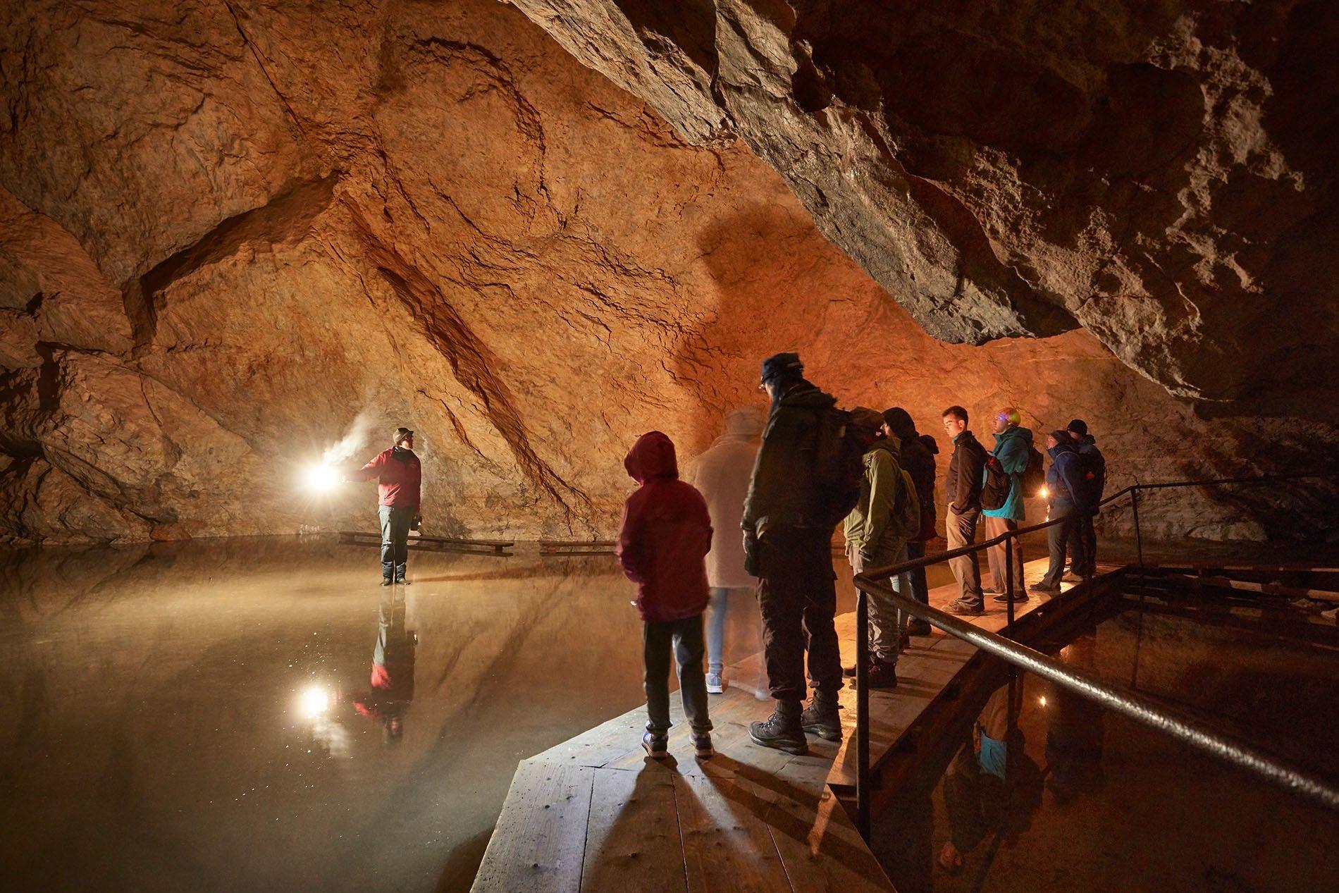 Touring the Eisriesenwelt ice cave within Hochkogel mountain