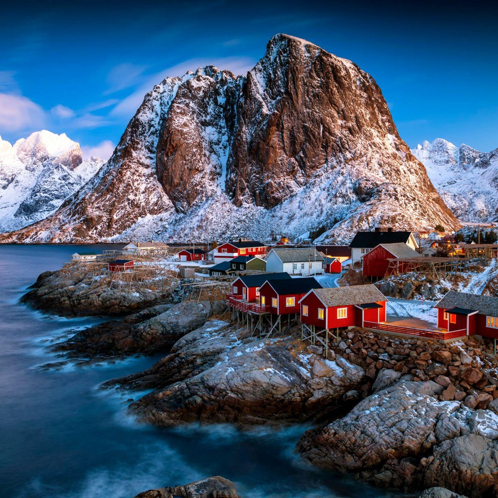 Mountain huts on theHardangervidda Plateau, Norway.