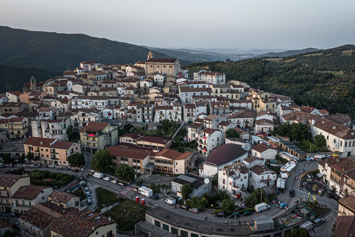 An aerial view captures the town of Accettura, located in the Basilicata region of Southern Italy.