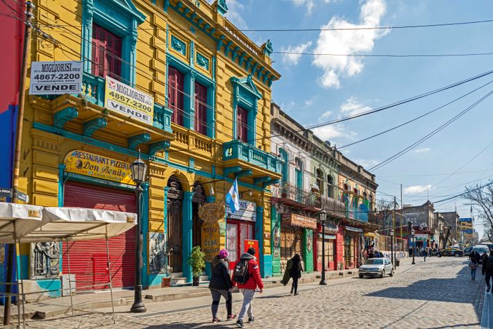 A colourful street in Buenos Aires' La Boca neighbourhood