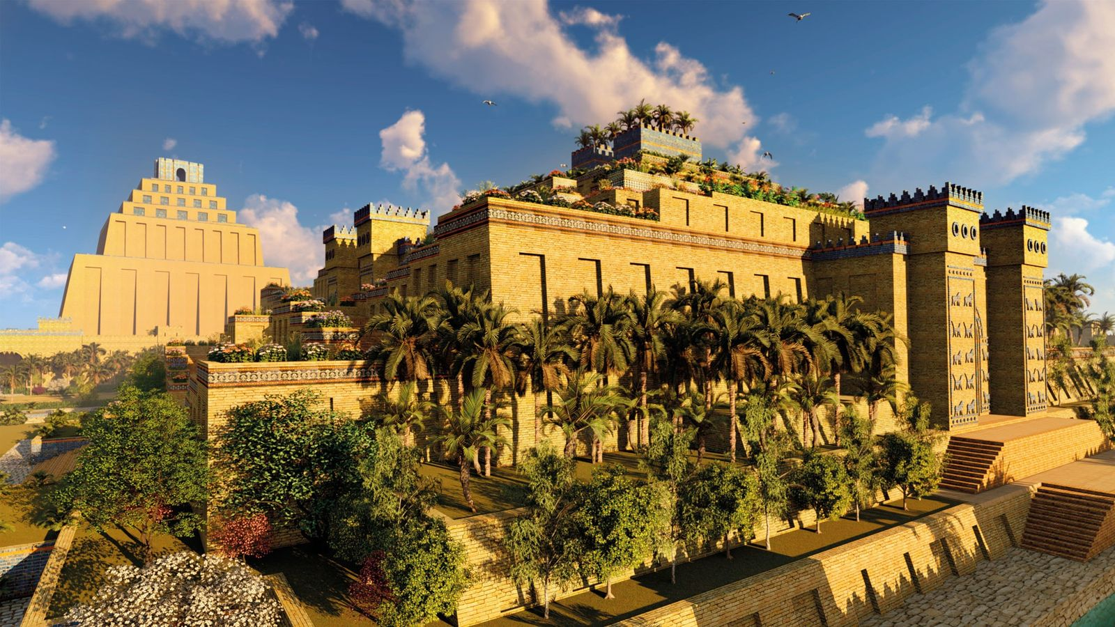 With its terracing crammed with trees and vegetation, this artistic imagining of Babylon's Hanging Gardens takes ...
