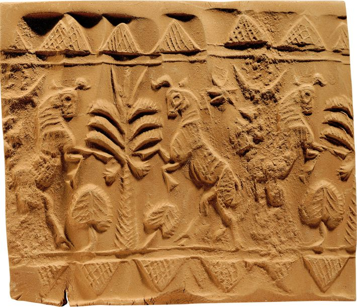 A Babylonian seal depicting bulls and trees dates to circa 1595-1200 B.C. Louvre, Paris.