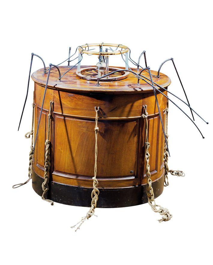 To be used in his therapy, Franz Mesmer invented the  baquet, a wooden vessel that he ...