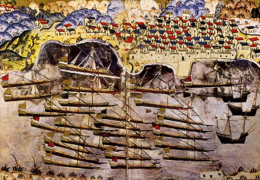 Barbarossa's fleet at the allied French port of Toulon in 1543. This contemporary miniature was painted ...
