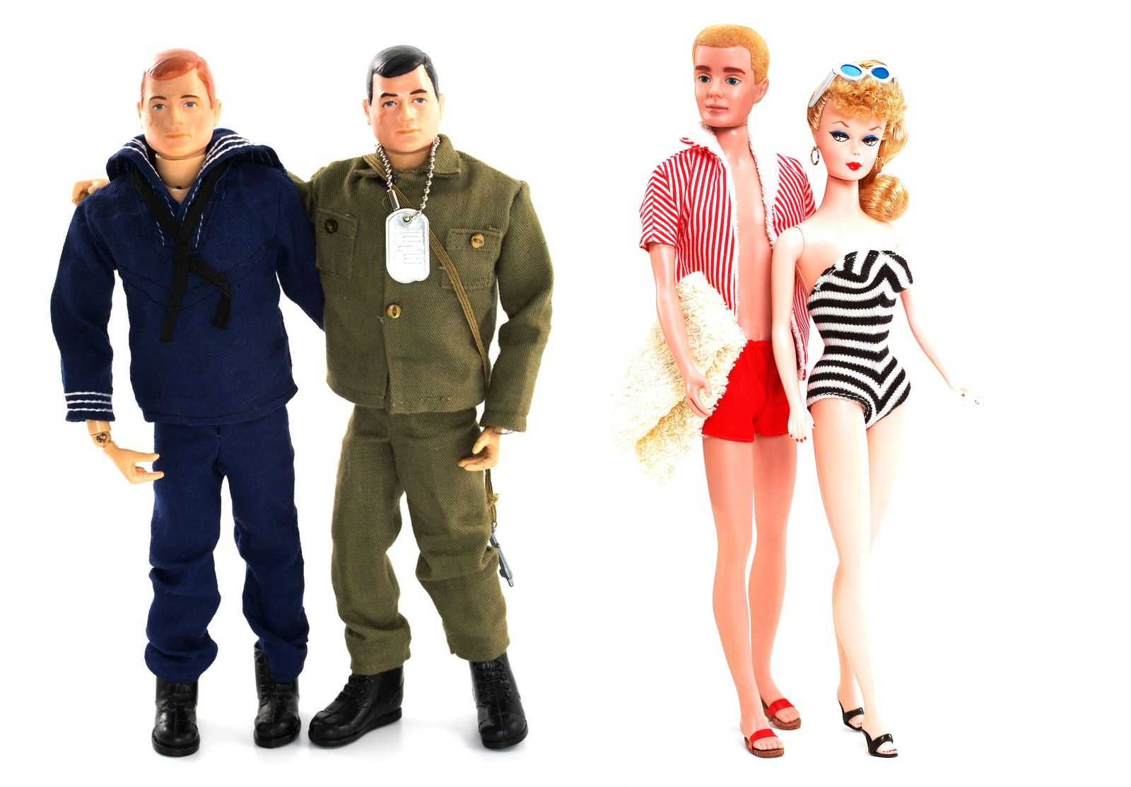 Mid-1960s Navy and Army G.I. Joes, and Barbie and Ken. While gender stereotyping seemed to dictate a male ...