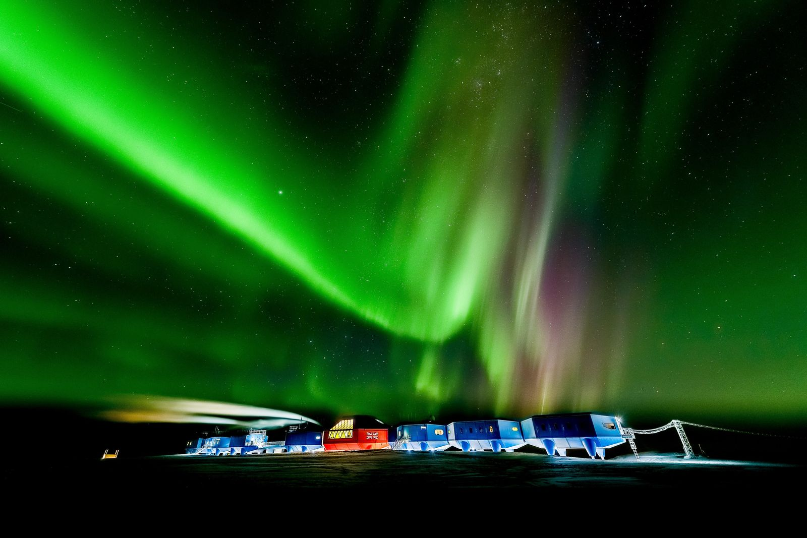 The Aurora Australis over the Halley VI research station.