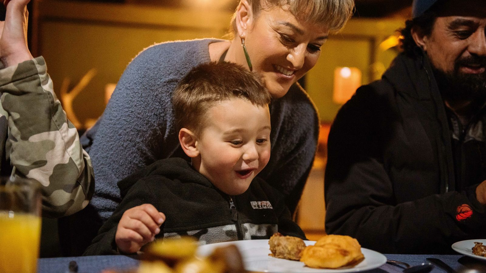 Nadine Toe Toe and her three-year-old son,Bodhi, sitting down to dinner in their home in New ...