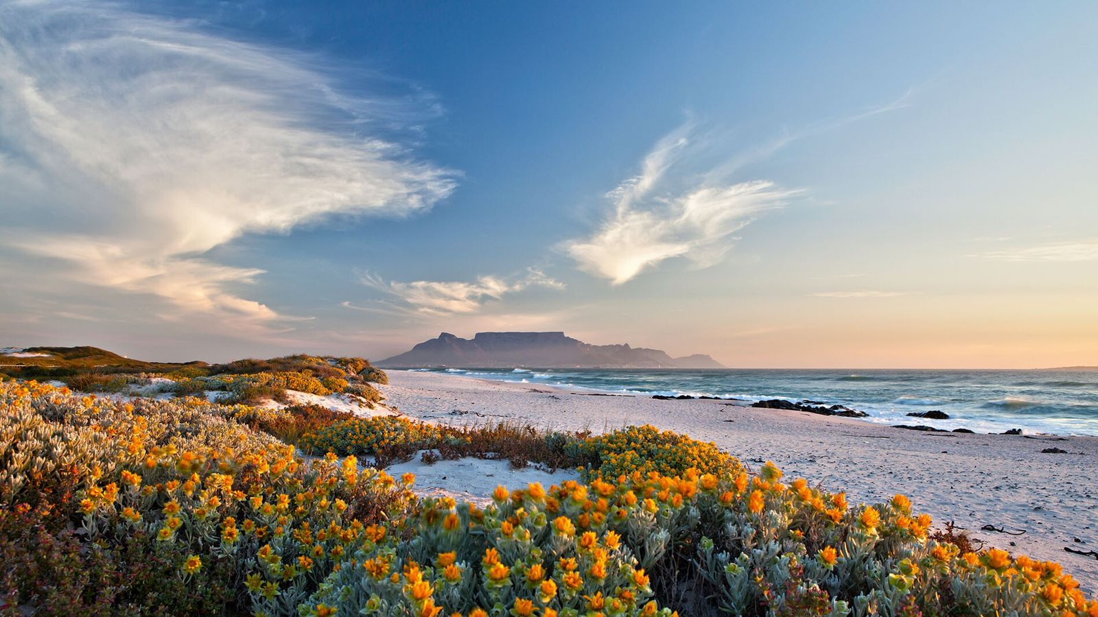 View of Table Mountain from Bloubergstrand, South Africa.