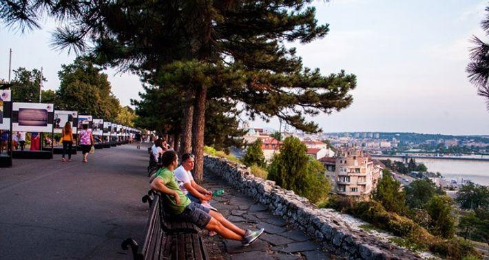 Outdoor exhibition overlooking the Sava River