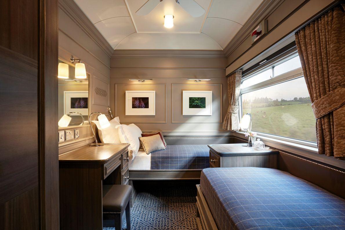 Rooms on the Belmond Grand Hibernian look like Georgian-era hotel suites, while cushy observation cars are ...