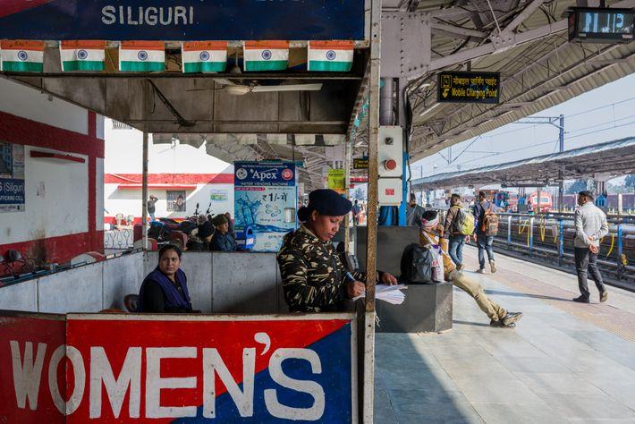Policewomen keep vigil at Siliguri's New Jalpaiguri station. Train stations can be unsafe for unaccompanied girls ...
