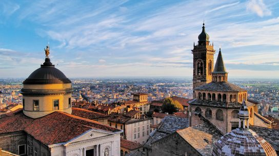 A view of Bergamo from the top of City Hall Tower.