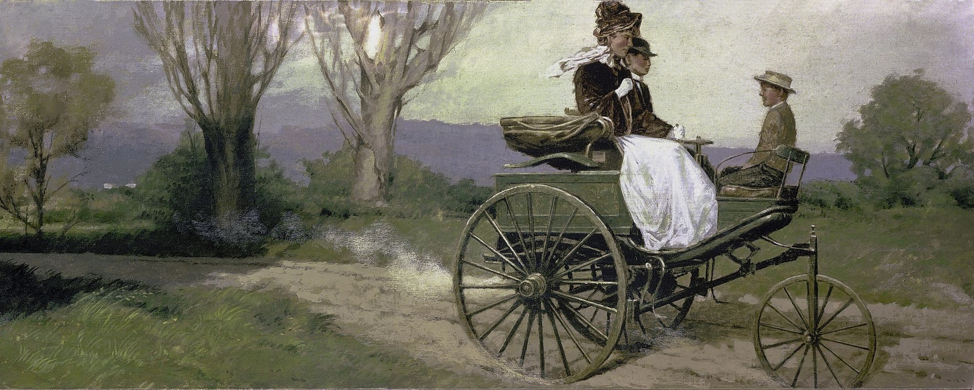 A painting depicting Bertha Benz's 1888 100km road trip with her sons. However idealistic it may ...